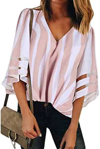 02d4da620 BLENCOT Womens 3/4 Bell Sleeve V Neck Lace Patchwork Blouse Casual Loose Shirt  Tops