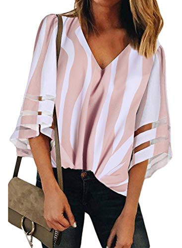 BLENCOT Women's Casual V Neck Striped Sheer Panel 3/4 Bell Sleeve Chiffon Blouse Loose Shirt Tops Pink - Sleeve Top Blouse 3/4