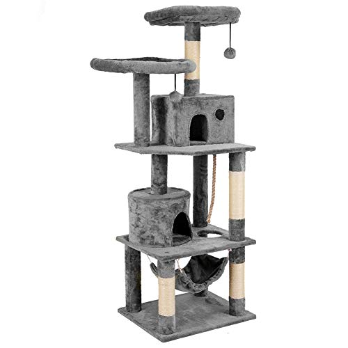 Plemo Cat Tree Condo Furniture 4-Level Platform Activity Tower with Sisal-Covered Scratching Posts and Perches Hammock for Kittens Pet (66.1″ Gray)