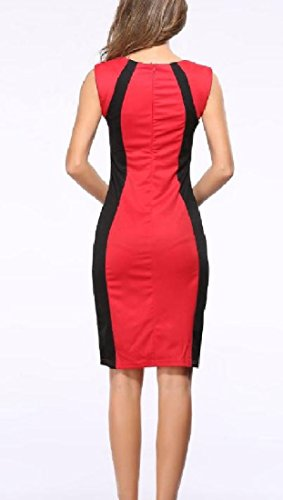 Coolred Vestito Maniche Senza Popolare donne Elegante Rosso Magro Partito r0qCrB1