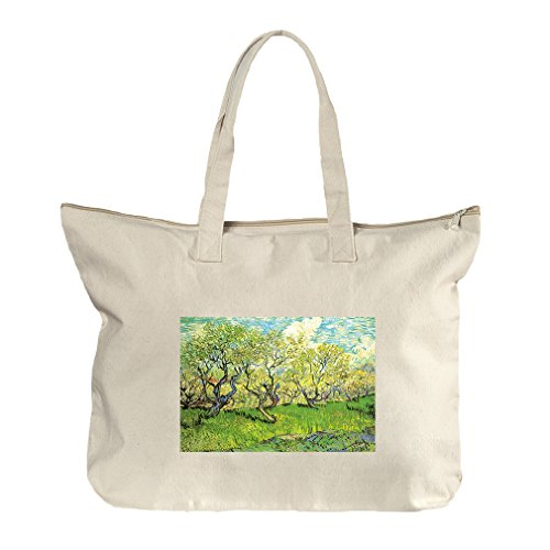 Orchard In Blossom Plum Trees #2 (Van Gogh) Canvas Beach Zipper Tote Bag - The Shopping Orchard Center