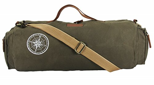 The House Of Tara Waxed Canvas Duffle/Gym Bag (Olive Green)