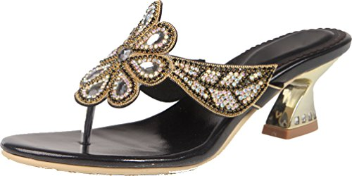 Chunky Slippers Comfort Womens Rhinestone Block GST032 Abby Leather Black Heel wFSRIxRP