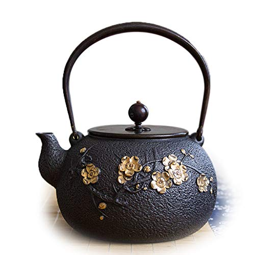 Teapot Cast Iron Teapot, Japanese Style Tetsubin Tea Kettle 1.3L | Cast Iron Tea Kettle to Keep Tea Warm | Gilding Plum blossom pattern High end cast Iron kettle