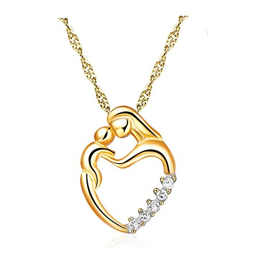 Gbell Mother's Day Necklace Jewelry Gifts - Silver Mosaic Zircon Pendant Necklace Jewelry Chain Charm Gifts for Women Mother (Gold)