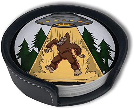 Ufo Alien Bigfoot Art Funny Home Decor Mark Cup Mat Pu Leather Set Of 6 Dining Table Decorations Round Coasters Gift Ornament Beer Mats Car Coasters