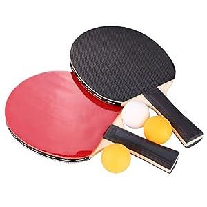 aoneky Ping Pong Paddel-2Spieler Tischtennis Schläger mit Abdeckung und Bälle
