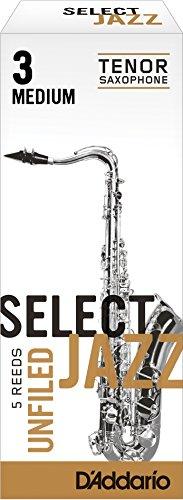 (Rico Select Jazz Tenor Sax Reeds, Unfiled, Strength 3 Strength Medium, 5-pack)