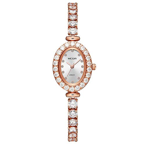 - Beauty7 Women Ladies Girls Luxury Style Oval Dial Quartz Analog Wrist Watch 3ATM Waterproof Bangle Bracelet Bling Sparkling Rhinestone Crystal Pave Case Bezel Band Strap Dress Decoration Rose Gold