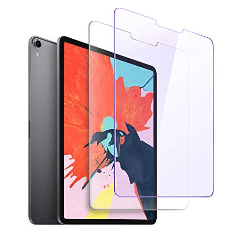 Screen Protector for iPad Pro 11 Inch [ Face ID Compatible],Tempered Glass Screen Protector for iPad Pro 11 2018 Released [2-Pack] [Clear and Anti Blue] [Installation Wings]
