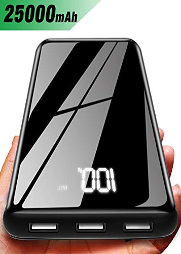 Portable Charger Power Bank 25000mAh - High Capacity with LCD Digital Display,3 USB Output & Dual Input External Battery Pack Compatible with Smart Phones,Android Phone,Tablet and More