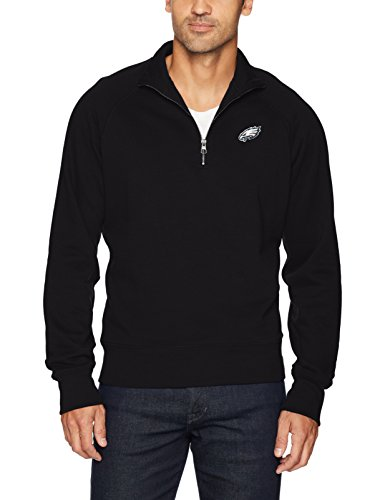 NFL Philadelphia Eagles Men's OTS Fleece 1/4-Zip Pullover, Jet Black, Large