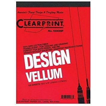 CLEARPRINT Design Vellum 22'' x 34'' Sheets Pack of 10 (10201226)