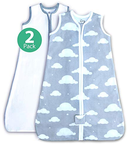 2 Pack 100% Organic Cotton Fleece Wearable Blanket, Unisex for boy or Girl, Easy Change Zipper, Cloud Gray and White Pattern (Medium)