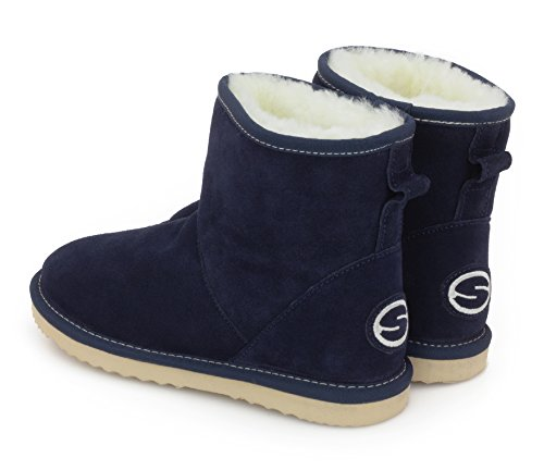 With Women Aida Boots Navy Shearling Suede Shephy Leather Sheepskin Upper For Merino 0dRRqY