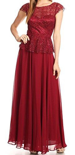 Belle Maids Lace and Chiffon Mother's Dress 3260EV-BM-BURGUNDY-S