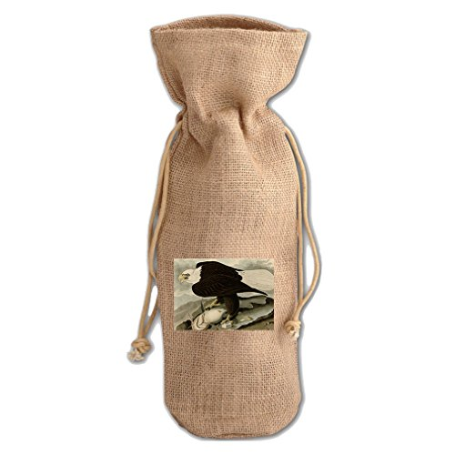 White Headed Eagle #1 (Audubon) Jute Burlap Burlap Wine Drawstring Bag White Headed Eagle