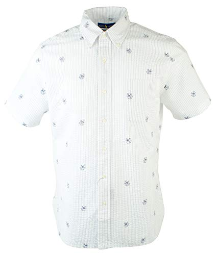 - Polo Ralph Lauren Men's Seersucker Dog & Anchor Print Short Sleeve Shirt-W-L