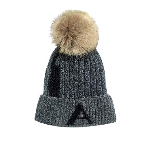Lookatool LLC Women Casual Winter Letter Fashion Keep Warm Solid Winter Hats Wool Cap Hat ()
