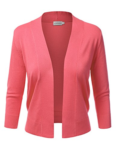 Coral Cardigan Sweater (JJ Perfection Women's Basic 3/4 Sleeve Open Front Cropped Cardigan CORAL XL)