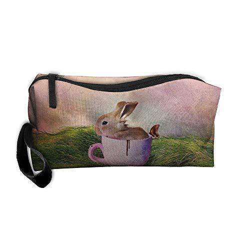 Jessent Coin Pouch Happy Easter Rabbit Pen Holder Clutch Wristlet Wallets Purse Portable Storage Case Cosmetic Bags Zipper ()