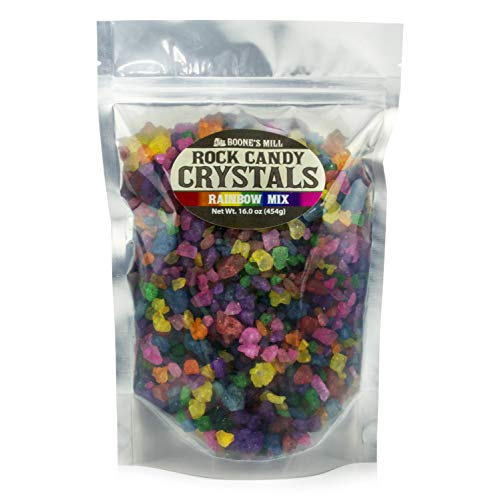 Assorted - Rainbow Mix Rock Crystal Candy | 1 Pound In A Resealable Stand-Up Bag | Boone's Mill