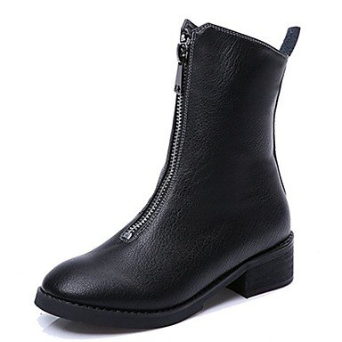 Toe Women's Comfort Boots Round UK6 Boots Fashion Black Casual Spring For Shoes EU39 Mid Boots PU US8 RTRY CN39 Calf Zipper nf1cqzwBq