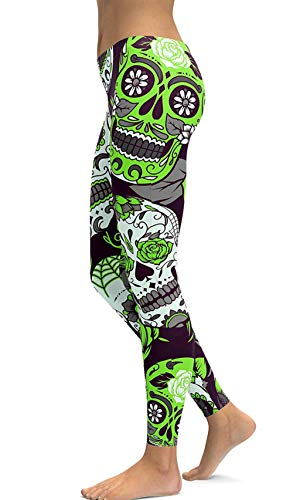 sissycos Women's Retro Printed Sugar Skull Pattern Ankle Length Elastic Tights Leggings (Medium, Green) -