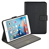 rooCASE iPad Mini 4 Case, Premium Leather Folio Case with Apple Pencil Holder, Multi-Angle Viewing Stand, Smart Cover Auto Sleep/Wake Function for Apple iPad Mini 4 (2015), Black