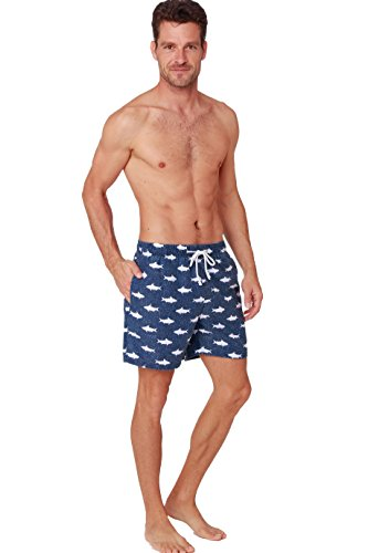 SLR BRANDS Athletic Mens Swim Trunks Quickly Drying Flamingo Printed Board Shorts (Small, Navy Fish)