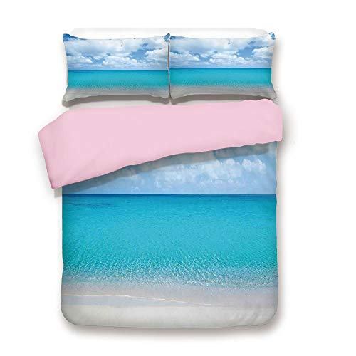 iPrint Pink Duvet Cover Set,Twin Size,Solitude Peaceful Beach Scene with Blue Ocean and Cloudy Sky,Decorative 3 Piece Bedding Set with 2 Pillow Sham,Best Gift for Girls -