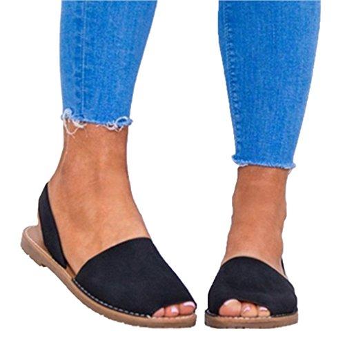 Genepeg Womens Sandals Summer Peep Toe Faux Suede