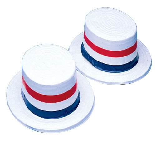 Patriotic Red White and Blue Plastic Skimmer Hat