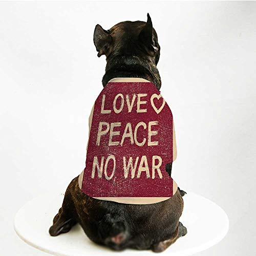YOLIYANA 1960s Decorations Skin Friendly Pet Suit,Love Peace No War Text Pacifist Rusty Line Political Hippie Groovy Artistic Design Decorative for Pet Dogs,S