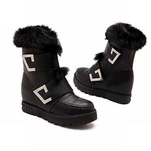 Carolbar Damesmode Namaakbont Warm Zoet Schattig Lolita Cosplay Winter Verborgen Hak Snowboots Zwart