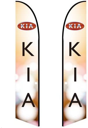 Double-Sided, Poles and Spike Base Included Kia - Style 1 13.5ft Feather Banner