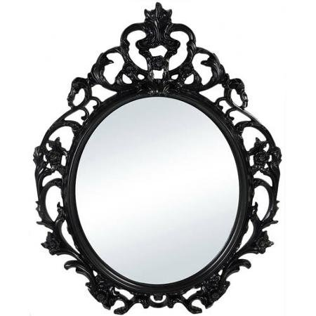 Baroque Style Oval Wall Mirror in Black Color