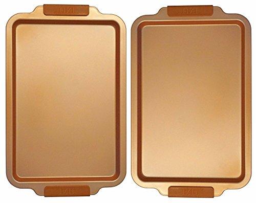 E4U Copper Kitchen Cookie Sheet - Large Ceramic Nonstick Baking Pan - 18 x 11 Deep Dish Carbon Steel Metal Bakeware with Silicone Handles (2)