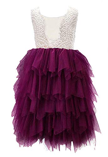 Topmaker Backless A-line Lace Back Flower Girl Dress (7-8Y, Non-Beaded-Burgundy) -