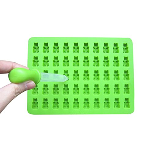 Ice Cube Freeze Mold Tray Vibola 50 Cavity Silicone Gummy Bear Chocolate Mold Candy Maker Ice Tray Jelly Moulds Mould Maker For Halloween Party Whiskey (Green)]()