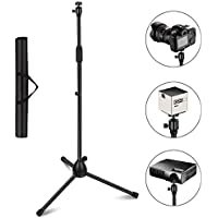 Projector Stand, Thustar Portable Tripod Stand Lightweight Adjustable Height 29.5 to 55.1 Floor Stand Holder 360°Swivel Ball Head for Projector, Small Camera, Webcam, GoPro with Carry Bag