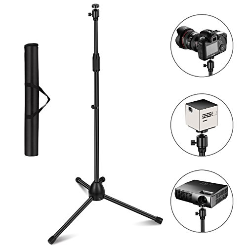 "Projector Stand, Thustar Portable Tripod Stand Lightweight Adjustable Height 29.5"" to 55.1"" Floor Stand Holder 360°Swivel Ball Head for Projector, Small Camera, Webcam, GoPro with Carry Bag"