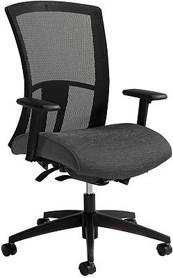 Global Vion Mesh Managers Office Chair, Adjustable Arms, Granite Rock (6321-8-UR20) Gray/Silver