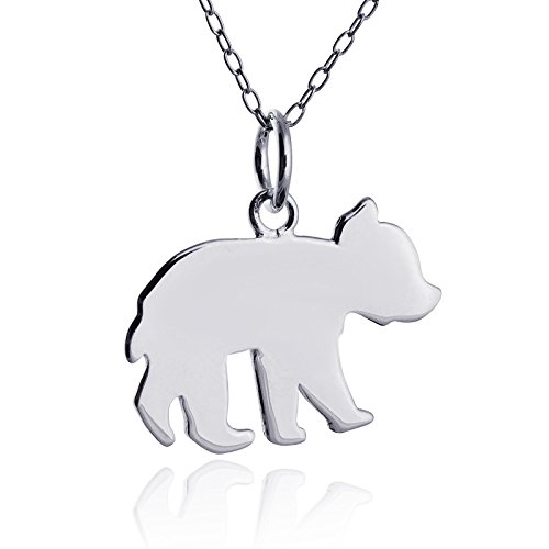 Sterling Silver Baby Bear Cub Silhouette Pendant Necklace, 18