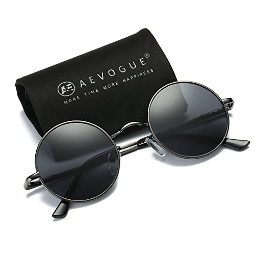 AEVOGUE Polarized Sunglasses Small Round Lens Metal Frame Retro Unisex Glasses AE0518 (Gray&Black, - Gray Photo Lenses