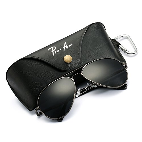 Aviator Sunglasses for Men Women Polarized Mirrored Lens - UV 400 with Case (Gunmetal Polarized Shades)