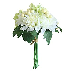 MARJON FlowersArtificial Fake Flowers Leaf Rose,Bridal Hydrangea Bouquet Wedding Party Home Decor Silk Flower Leaf Home Wedding Party Decor Best Gifts(4 Colors Available) (Green) 77