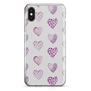 iPhone X Case Watercolor Purple Spots Heart Pattern Tough Modern Wrap Around iPhone 10 Case