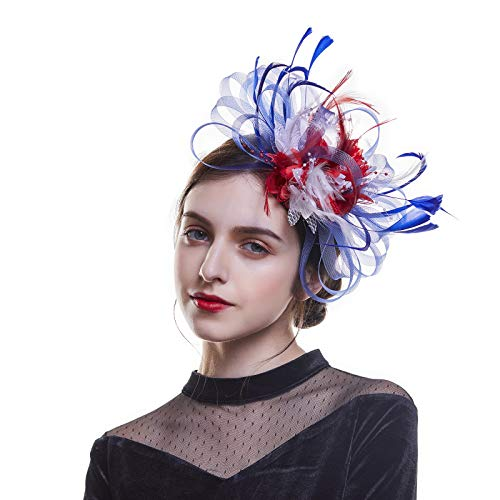 AWAYTR Woman Sinamay Fascinator Hat -Mesh Net Hat Feather Derby Hat for Cocktail Ball Wedding Church Tea Party (one Size, Navy-Blue+red)