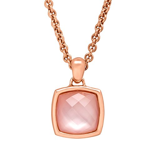 Finecraft 8 3/8 ct Rose Quartz Cushion Pendant Necklace in 18K Rose Gold-Plated Bronze